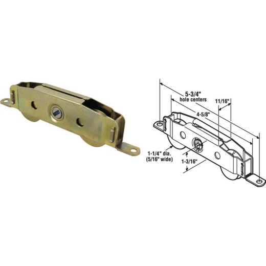 Prime-Line 1-1/4 In. Dia. x 5-5/8 In. L. Tandem Steel Patio Sliding Door Roller with Housing Assembly