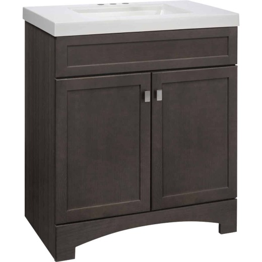 Continental Cabinets Davison Gray 30-1/2 In. W x 35-1/2 In. H x 18-3/4 In. D Vanity with Cultured Marble Top