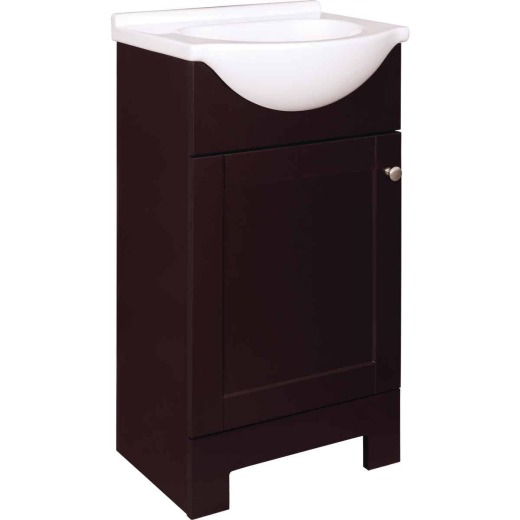Continental Cabinets European Espresso 18 In. W x 33-1/2 In. H x 12-1/2 In. D Vanity with Cultured Marble Top