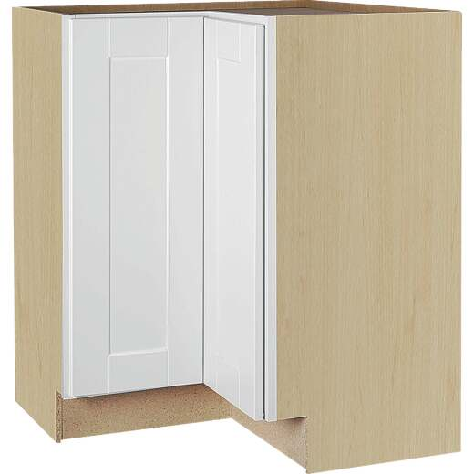 Continental Cabinets Andover Shaker 36 In. W x 34-1/2 In. H x 24 In. D White Thermofoil Lazy Susan Corner Base Kitchen Cabinet