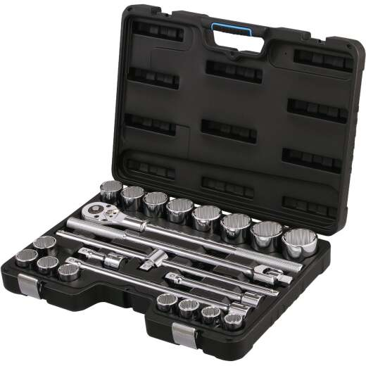 Channellock Standard 3/4 In. Drive 12-Point Shallow Ratchet & Socket Set (23-Piece)