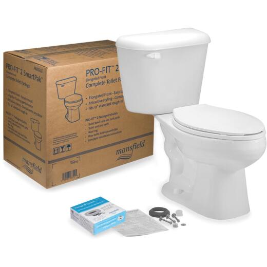 Mansfield Pro-Fit 2-128 White Elongated Bowl 1.28 GPF Complete Toilet