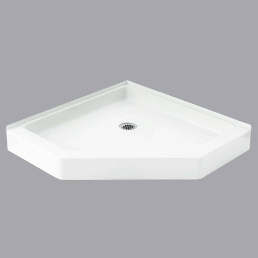 Sterling Intrigue 39 In. W x 39 In. D Center Drain Neo-Angle Shower Floor & Base in White