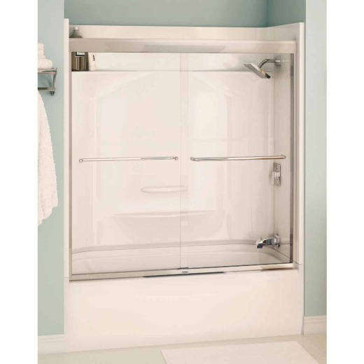 Maax Aura 59.5 In. W. X 57 In. H. Chrome Semi-Frameless Clear Glass Sliding Tub Door