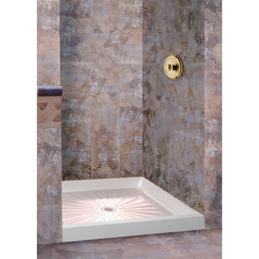 Mustee Durabase 48 In. W x 34 In. D Center Drain Shower Floor & Base in White