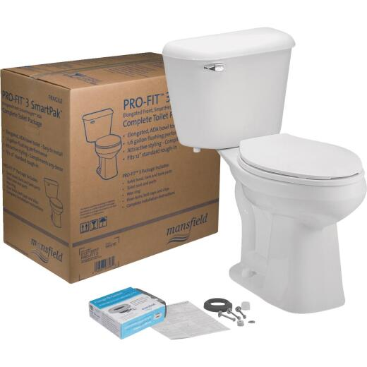 Mansfield Pro-Fit 3 SmartHeight White Elongated Bowl 1.6 GPF Complete Toilet