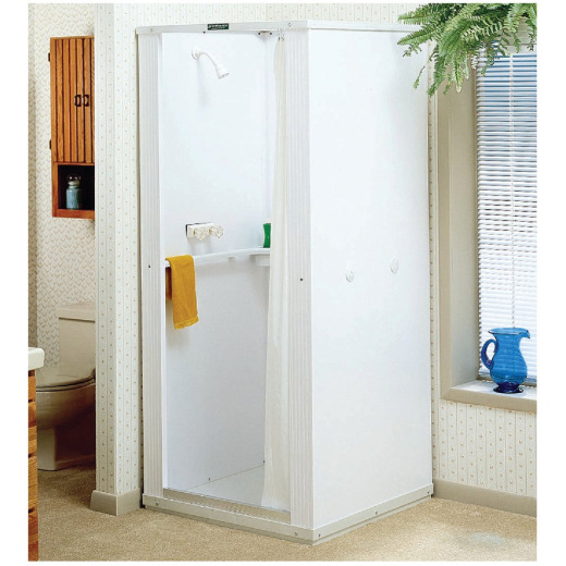 Mustee Durastall 32-5/8 In. x 32-5/8 In. x 75-3/8 In. White Co-polymer Plastic Shower Stall