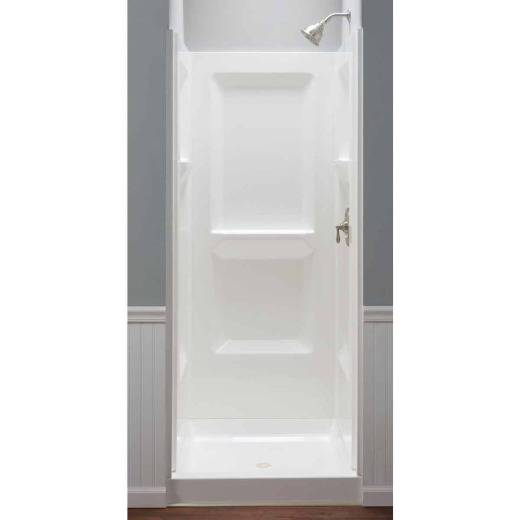 Mustee Durawall Model 700 3-Piece 32 In. W x 32 In. D Shower Wall Set in White