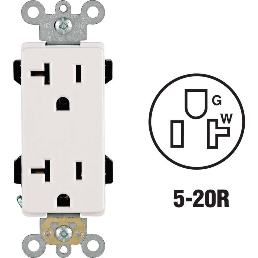 Leviton Decora Plus 20A White Residential Grade 5-20R Duplex Outlet