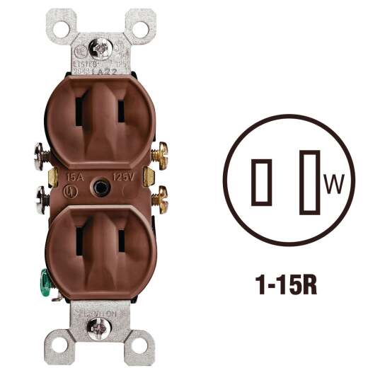 Leviton 15A Brown Residential Grade 1-15R Duplex Outlet