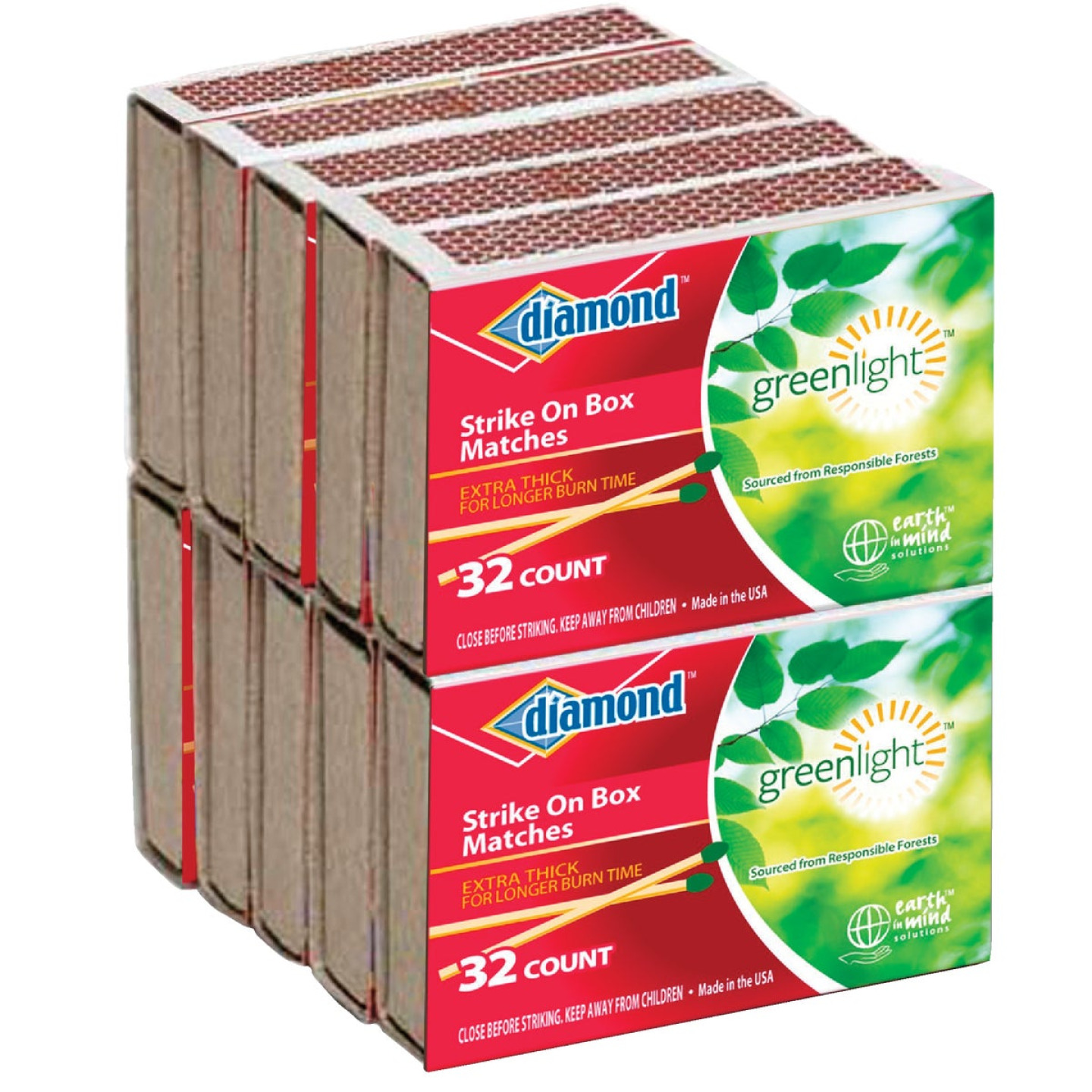 Diamond 2-3/8 In. 32-Count Strike on Box Pocket Matches (10-Pack) Image 1