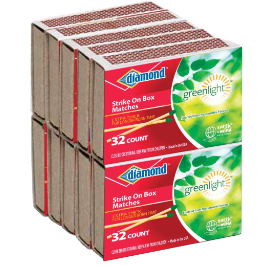 Diamond 2-3/8 In. 32-Count Strike on Box Pocket Matches (10-Pack)