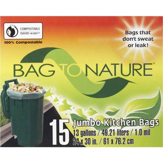 Bag-To-Nature 13 Gal. Compostable Green Trash Bag (15-Count)