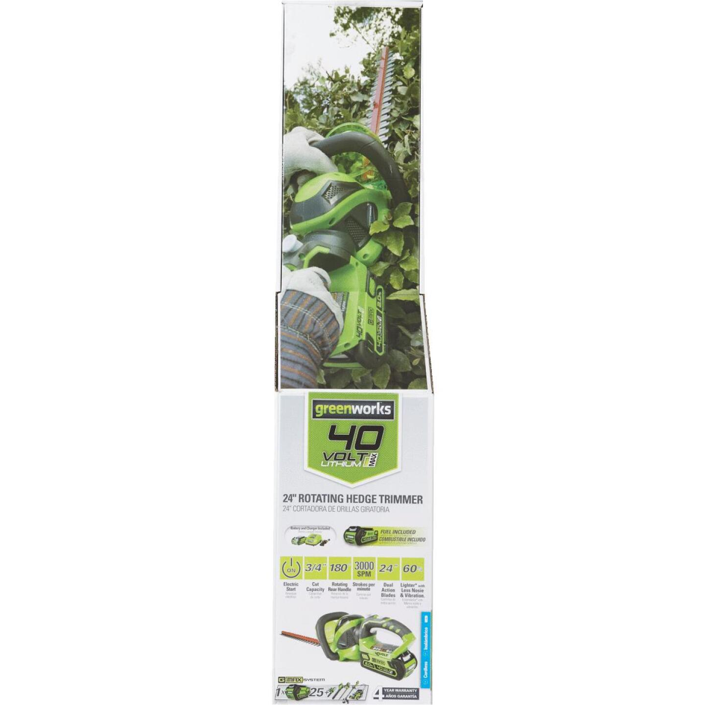 Greenworks G-Max 24 In. 40V Lithium Ion Cordless Hedge Trimmer (Bare Tool) Image 2