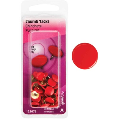 Hillman Anchor Wire Red 23/64 In. x 15/64 In. Thumb Tack (40 Ct.)