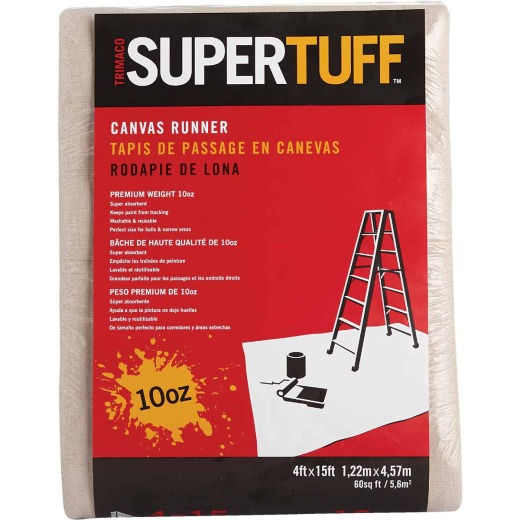 Trimaco SuperTuff Canvas 4 Ft. x 15 Ft. 10 Oz. Drop Cloth