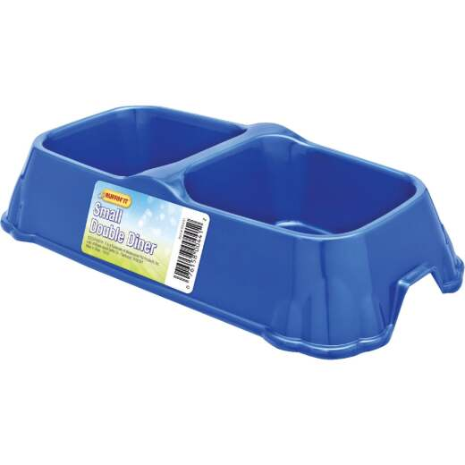 Westminster Pet Ruffin' it Plastic Small Double Pet Food Bowl