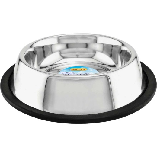 Westminster Pet Ruffin' it Stainless Steel Round 16 Oz. No Skid Pet Food Bowl