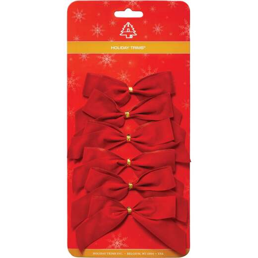 Holiday Trims 2-Loop 3-1/2 In. W. x 3-1/2 In. L. Red Velvet Christmas Bow (6-Pack)