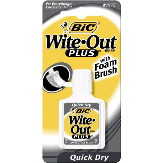 Bic Wite-Out Plus 0.7 Fl. Oz. Foam Brush Applicator Correction Fluid